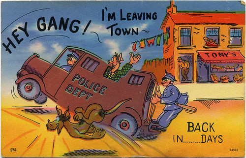 Postcard:  Paddy Wagon, Leaving Town