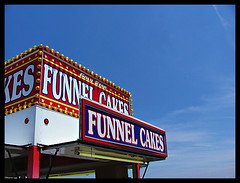 funnelcake (meghanmiller) Tags: carnival blue red sky white signs ducttapefestival colorfulweek