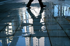 rumour (maybemaq) Tags: blue urban reflection building feet water rain silhouette speed puddle floor geometry walk ripple saturday wave australia perth reflexions breathtaking rumour eyewashdesign