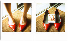 In shoes (RosePirate) Tags: light red woman feet home me girl shoes highheel image taiwan livingroom taipei doormat pictureinpicture polaroidsx70sonar