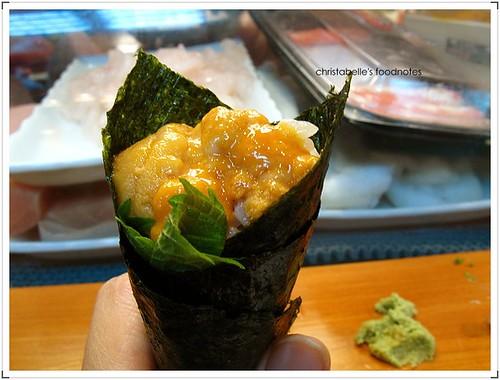 阿吉師海膽手捲 urchin sushi roll