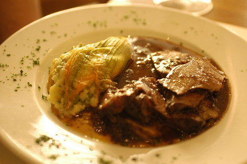 veal cheeks and stuffed zucchini flowers at Trimani