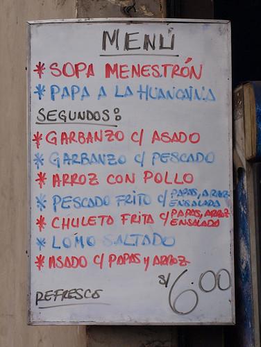Perú: Menú