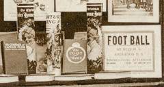 The Anderson News Co., Anderson, Indiana, close-up section 6 (Hoosier Recollections) Tags: people usa signs man men history sepia buildings advertising indiana celebration anderson shops cigars storefronts theaters businesses theatres postmark hoosierrecollections