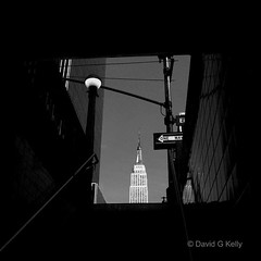 Empire View (Dave G Kelly) Tags: nyc bw ny newyork building architecture america subway interestingness manhattan esb empirestatebuilding peopleschoice i49 supershot 10faves i500 i150 25faves davegkelly