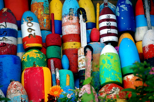 Colorful buoys in Rockport MA