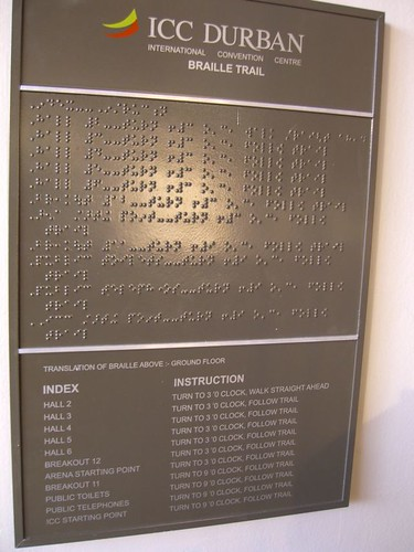 Durban ICC - braille sign
