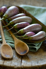 stems and spoons (mwhammer) Tags: wood stilllife food color green texture purple display eggplant object rustic spoon vegetable aubergine cloth courgette propstyling foodstyling melinahammer tabletopstyling