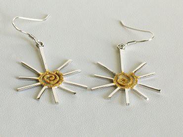 Sterling Silver Swirling Yellow Sun Earrings