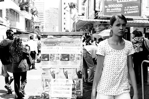 A beatiful girl on the street at Port Louis near Central Market