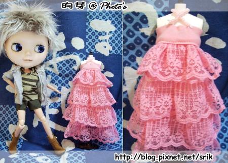 小布。粉紅長洋裝