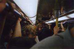 underground london (scott w. h. young) Tags: uk england london film 35mm underground nikon fuji tube piccadillycircus crowded fe2 400h