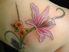flowers 68 (Jam Tat) Tags: pink flowers orange art floral leaves tattoo manchester leaf vines purple soul jam tat jamtat
