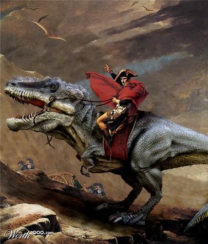 Napoleone attraversa le Alpi a cavallo di un T-Rex