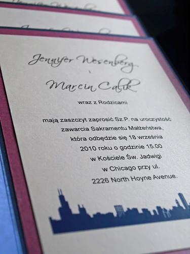 Polish Wedding Invitation - Chicago Skyline by ericksondesign