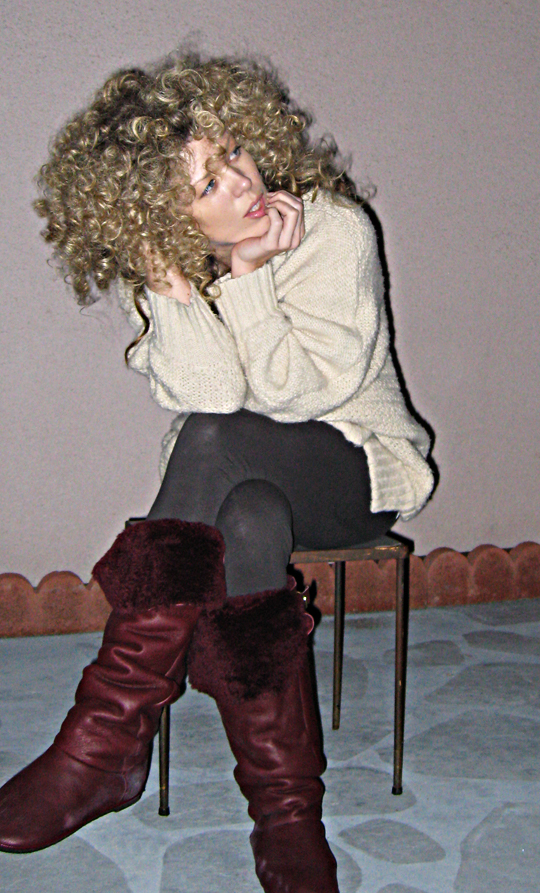 big curls+sponge rollers+white girl afro+original sharp
