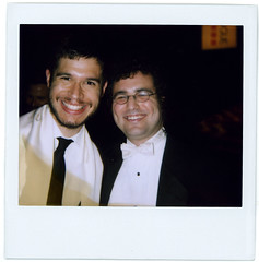 morgan and the rabbi (flybutter) Tags: nyc film polaroid financialdistrict wintergarden benefit spectra flybutter miracleatgroundzero sohosynagogue beyondblacktie