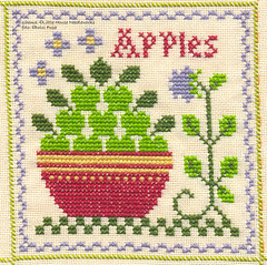 WIP - Tovaglia TP 17 Apples (Dolci Fusa) Tags: flower green apple fruit crossstitch cotton sal littlehouseneedleworks lhn fruitthreadpacks