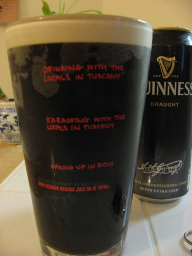 No Reservations' pint glass