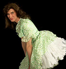 Bending over in green springtime dress with petticoats (LadeeAlana) Tags: ruffles romantic crossdresser reddress sheer frilly petticoats organdy
