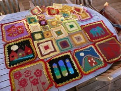 Growing Babette blanket (Torirot) Tags: flower colour crafts crochet blanket afghan colourful intarsia 2007 grannysquare babette ganchillo colorwork tapestrycrochet babetteblanket