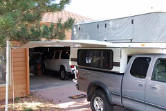 ShadyBoy awning installed on a popup tent camper - unfolded