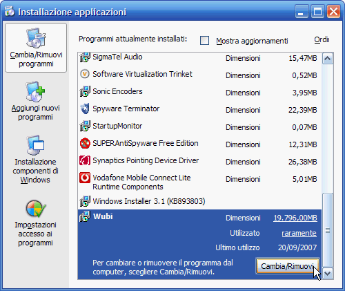 Fig. 10 - Installare Linux da Windows - Disinstallazione Wubi