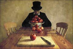. The Apple Harvest III . (3amfromkyoto) Tags: wood portrait man black reflection me apple hat self table wooden chair shiny chairs top board coat iii harvest knife tie fork pot chrome tophat apples collar topper 3amfromkyoto artlibre flickr:user=3amfromkyoto