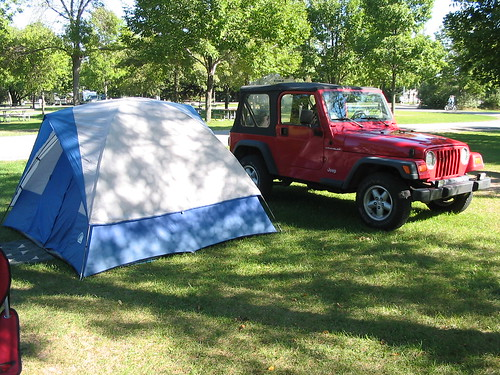 Tent and Jeep at Tawas, 2005