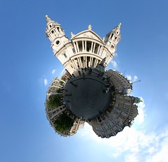 St. Paul's cathedral (Man) Tags: uk blue sky panorama sun london clouds cathedral stpauls 360 full handheld 360x180 spherical planetoid plazza hugin enblend littleplanet planetoids