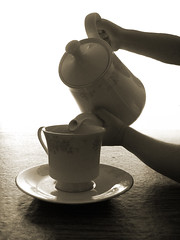 cup of tea (jaebn) Tags: cup girl contrast hands child little tea pot teapot 365 teacup pouring saucer jaebn