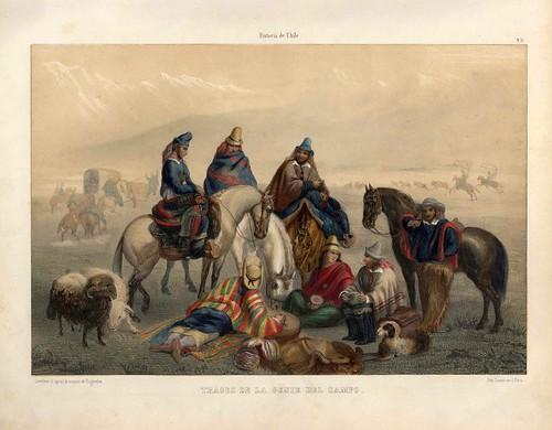 011-Trajes de la gente del campo-Atlas de la historia física y política de Chile-1854-Claudio Gay