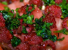 Watermelon Mint Raspberry Salad (LollyKnit) Tags: red summer fruits salad mint watermelon honey raspberries limejuice