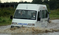 Ambulance (Bobasonic) Tags: storm water rain shropshire traffic flood floods a442 suttonmaddock bigpicture2008