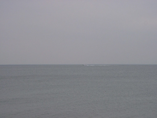 Grey Sky, Sea and Speedboat