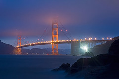 Golden Gate Bridge: Baker Beach Viewpoint (TravelnFotog) Tags: sanfrancisco california longexposure bridge light nikon nightscape nightshot pacific d70s goldengatebridge goldengate bayarea ggbridge bakerbeach travelnfotog flickrslegend
