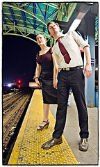 Waiting is the Hardest Part (Ryan Brenizer) Tags: nyc newyorkcity wedding love brooklyn subway fun coneyisland engagement waiting fuji august noflash 1224mmf4g 2007 newyorkers noahandallison s5pro