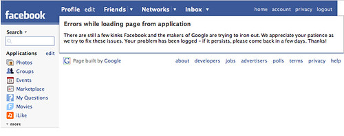 Google Facebook app offline
