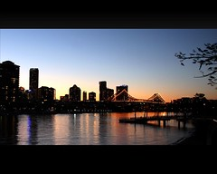 Brisbane Twilight (whoops vision) Tags: city bridge sunset reflection buildings reflections lights evening twilight dusk jetty walkway brisbaneriver storybridge brisbanecity anawesomeshot aplusphoto auselite bestofaustralia brisabneriverwalk