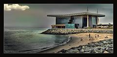 Burj Al Hamam Restaurant (khalid almasoud) Tags: road city sea canon lens eos restaurant photo al day photographer gulf cloudy stones d front 400 24 kuwait 105  khalid burj   hamam       vwc   almasoud mscamera   kvwc kuwaitartphoto kuwaitvoluntaryworkcenter kuwaitvwc newburning