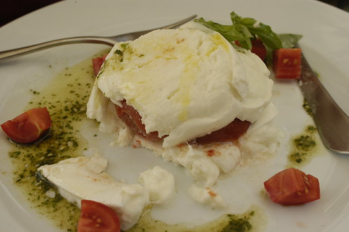 mozzarella, tomatoes, and pesto