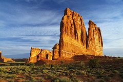"Courthouse Towers in Arches National Park, Utah (IronRodArt - Royce Bair (""Star Shooter"")) Tags: park travel red sky orange usa southwest west tower tourism monument nature beautiful rock stone america landscape utah sand sandstone rocks colorful butte arch desert natural earth plateau towers scenic arches panoramic canyon erosion organ national strata western moab environment courthouse geology wilderness fin archesnationalpark majestic arid babel theorgan towerofbabel courthousetowers"