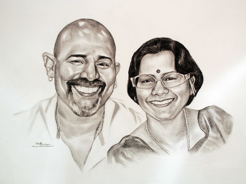 Indian couple portrait in charcoal