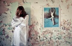 Wall Decorations (Doug NC) Tags: eye abandoned wall hair eyes framed picture dancer explore psycho peelingpaint labcoat lightroom tarina kingsparkpsychiatriccenter kppc balletdancer nikond90 dougalug