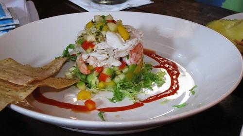 crab, shrimp, mango, and avacado stack
