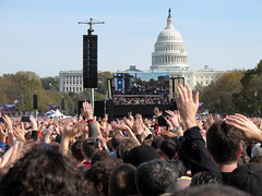 Hands in the Crowd (photoranger54) Tags: street party signs monument shirt 30 mall john dc washington october memorial jon comedy sam district uncle fear rally crowd central protest columbia stephen stewart half archives million steven seventh celebrate tee sanity colbert 2010
