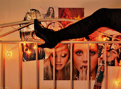 can I sleep in my clothes (annaivers) Tags: red black colour stockings leather glitter silver lights shoes heart legs boots romance bow tinsel magazines noise chemical drmartens