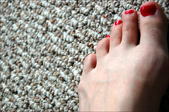 red this time (ImagesAndObjects) Tags: red carpet painted livingroom nailpolish toenails mybfcalleditharlotred