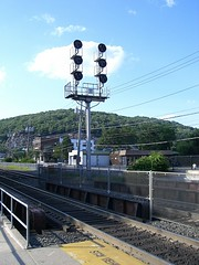 Suffern, New York train station with Ramapo Mountains backdrop (digitallydc) Tags: usa ny newyork station hometown trainstation njtransit rockland suffern newjerseytransit rocklandcounty ramapo ramapomountains
