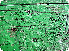 table graffiti. (indielove) Tags: writing funny jokes scribbles picnictable photo365 tablegraffiti